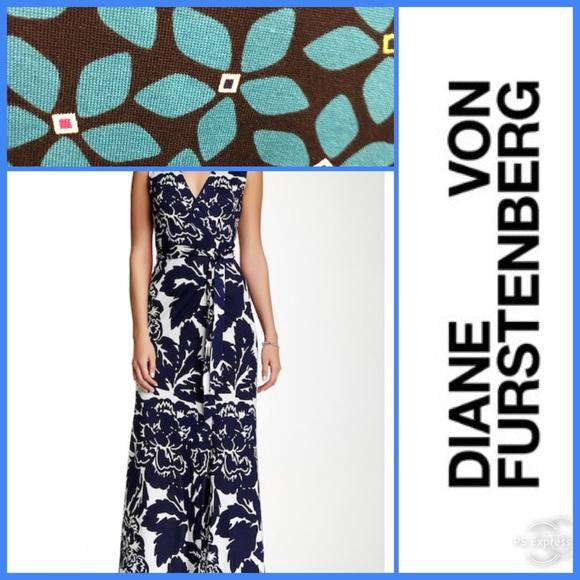 1b40fed1459 Diane Von Furstenberg Dresses   Skirts - DVF New Yahzi Two Print Silk Wrap  Maxi Dress